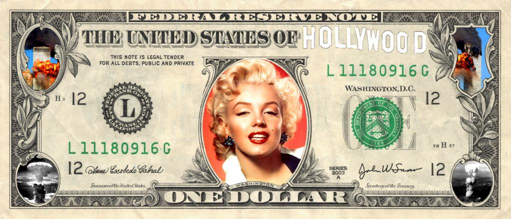 Dólar hollycapitalista, collage del autor.