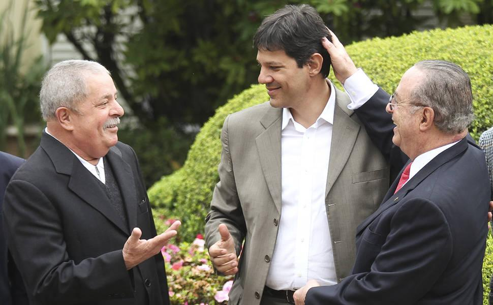 Lula (left), Fernando Haddad (center) and Interpol-wanted Paulo Maluf (right)
